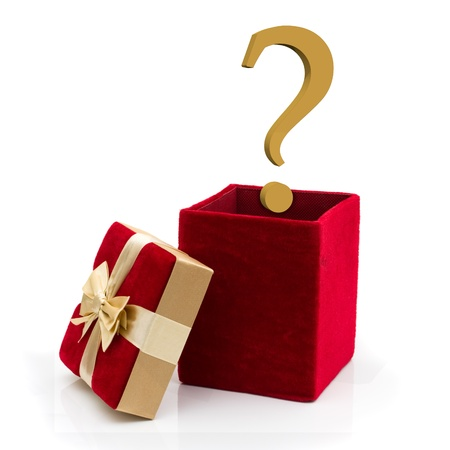 A red velvet present with a gold bow and gold question mark isolated on white, What to give for a present photo