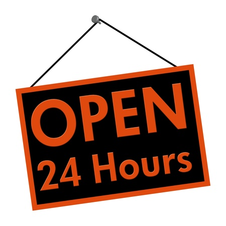 24 hour: A black and orange sign with the words Open 24 Hours we are closed sign isolated on a white background, Open all day sign