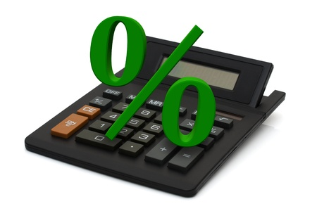 percentage sign: Black calculator with screen display and green percentage sign isolated on white background, Calculating your discount