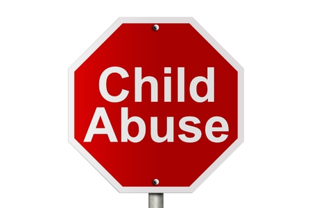 An American road stop sign isolated on white with words child abuse, Stopping Child Abuse Stock Photo - 12686529