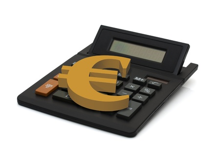Black calculator with screen display and gold euro sign isolated on white background, Calculating your finances
