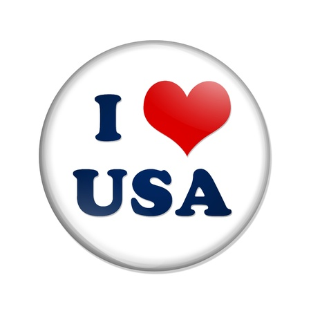 A white button with I heart USA isolated on a white background, I love USA