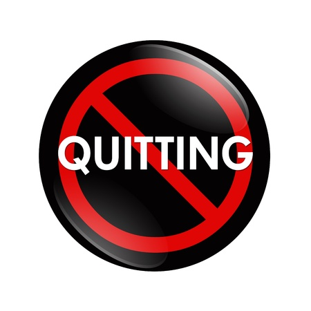 quitting: A black, white and red  button with word quitting isolated on a white background, No Quitting button Stock Photo