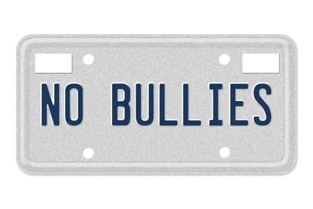 A gray license plate with the words no bullies isolated over white photo