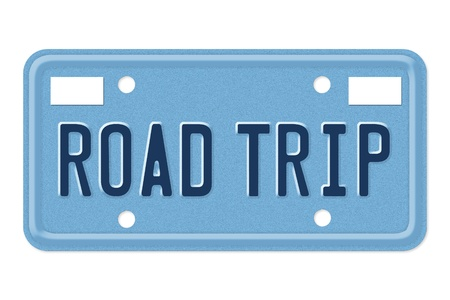 A blue license plate with the words road trip isolated over white Stock Photo - 13030033