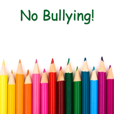 A pencil crayon border isolated on white background with words No Bullying photo