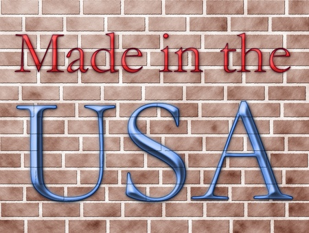 The words made in the USA in red and blue on a brick wall photo