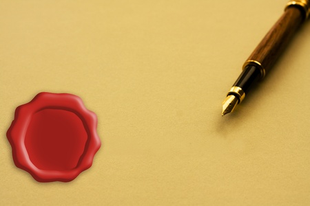 A fountain pen with yellow paper with a wax seal copy-space, Signing a legal agreement Stok Fotoğraf