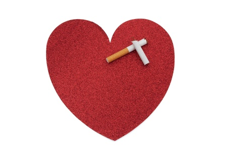 Large red heart with a broken cigarette with copy-space isolated on white, Quit smoking for a healthier heart photo