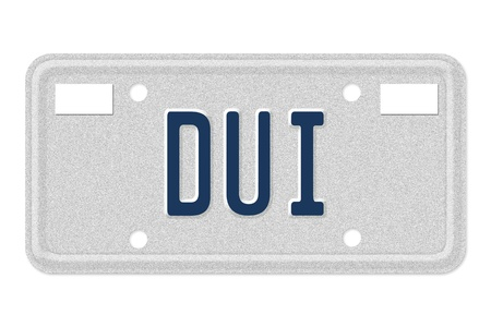 under arrest: The word DUI in blue on license plate isolated on white, Getting a DUI