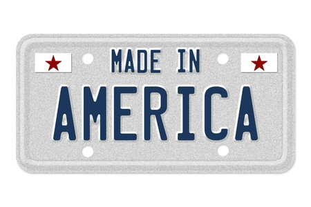 made: The words made in America in blue on license plate isolated on white