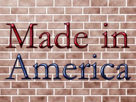 The words made in America in red and blue on a brick wall photo