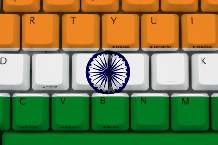 outsourcing: Computer keyboard with the Indian flag on it, Internet in India