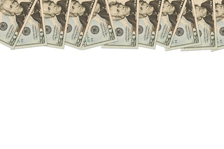 us dollar bill: A border of American money isolated on white with copy space, Money Border of twenty dollar bills Stock Photo