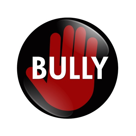 A black, white and red  button with word Bully with stop hand symbol isolated on a white background, No Bully button Stock Photo - 13528802