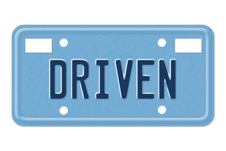 driven: The word Driven in blue on license plate isolated on white, Being Driven