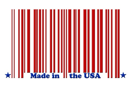 bar codes: A red bar code with the words made in the USA isolated on white, Make in the USA Stock Photo