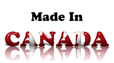 The words made in Canada in the Canadian flag colors isolated on white photo