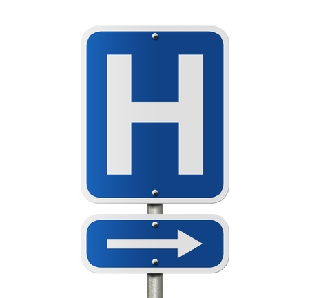 sign h: An American road sign isolated on white and a capital H, Hospital Direction Sign Stock Photo