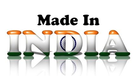 흰색에 격리 인도 플래그 색에 인도에서 만든 단어