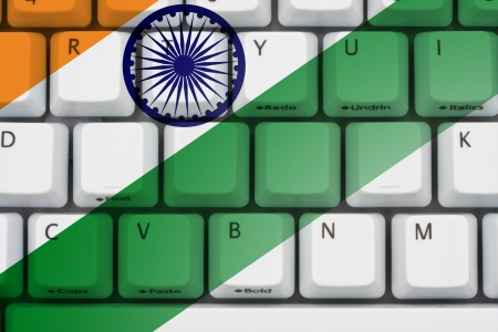 Computer keyboard with the Indian flag on it, Internet in India photo