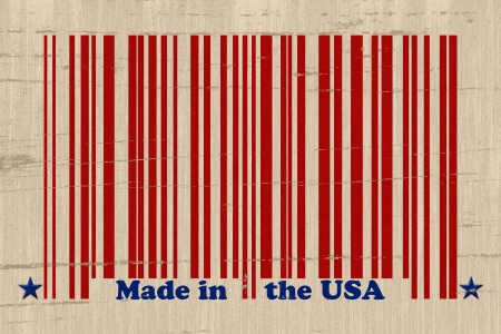 A red bar code with the words made in the USA on a grunge background, Make in the USA