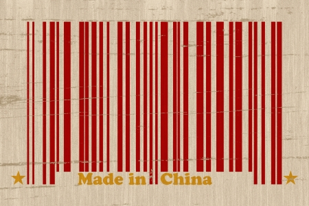 A red bar code with the words made in China on a grunge background, Make in China
