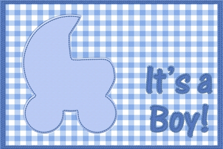 Words it is a boy sewn on blue gingham material with copy-space in in baby buggy, It is a boy baby announcement photo