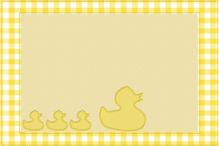 Yellow gingham material for a border and ducks embroidered with copy-space,  Baby Background for your message photo