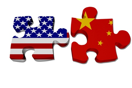 Puzzle pieces with the US flag and Chinese flag isolated over white, US working with China