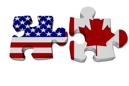 nafta: Puzzle pieces with the US flag and Canadian flag isolated over white, US working with Canada, NAFTA