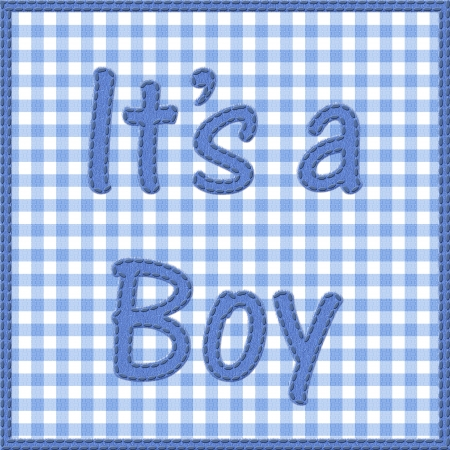 Words it is a boy sewn on blue gingham material with, It is a boy baby announcement