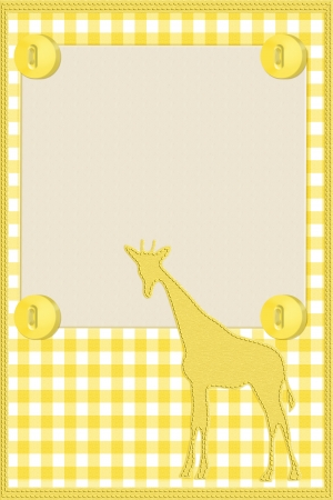 Yellow gingham material for a border with giraffe and buttons with copy-space,  Baby Background for your message photo
