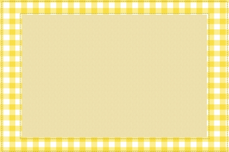 Yellow gingham material for a border with copy-space,  Baby Background for your message photo