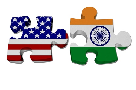 Puzzle pieces with the US flag and Indian flag isolated over white, US working with India
