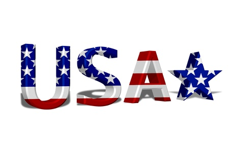 The word USA in 3D in the American flag colors isolated on white Stock Photo - 14272907