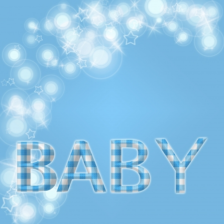 White flares, star and star shapes and word Baby in blue gingham with of copy-space, Pale blue baby background photo