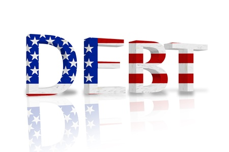The word Debt in 3D in the American flag colors isolated on white, United States Debt Stock Photo - 14272906