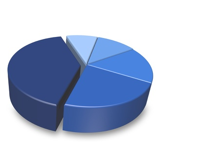allocation: Blank blue shaded 3D pie chart isolated on a white background and empty for your text to be added