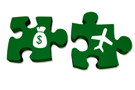fees: Green puzzle pieces with symbols of a money bag and an airplane isolated over white, Understanding airline fees