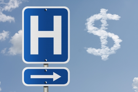 An American road sign with a sky background and a capital H, arrow and dollar sign cloud, Cost of going to the hospital photo