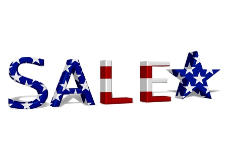 The word Sale in 3D in the American flag colors the a star isolated on white, 4th July Sale Stock Photo