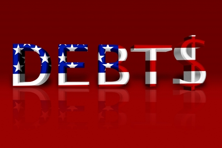 The word Debt in 3D in the American flag colors with dollar sign isolated on black, United States Debts photo
