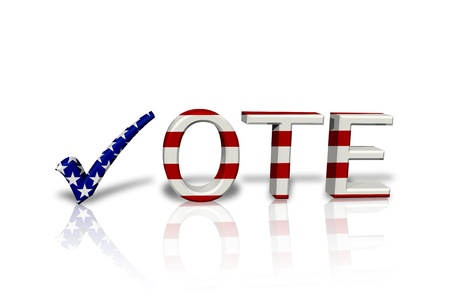 The word Vote in 3D in the American flag colors the a check mark isolated on white, American Vote Stock Photo - 14403493