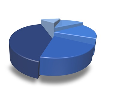 staggered: Blank blue 3D pie chart isolated on a white background and empty for your text to be added