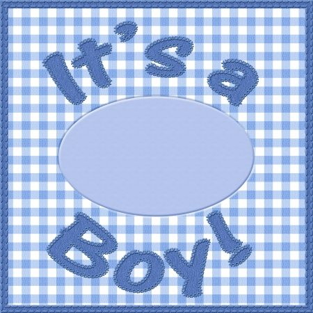 Words it is a boy sewn on blue gingham material with copy-space in a circle, It is a boy baby announcement photo