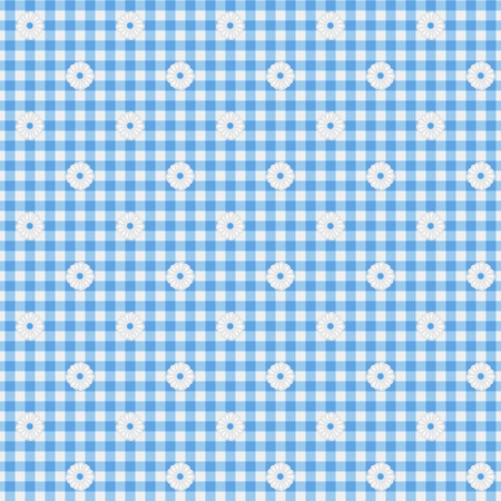 A light blue gingham fabric with flowers background that is seamless photo