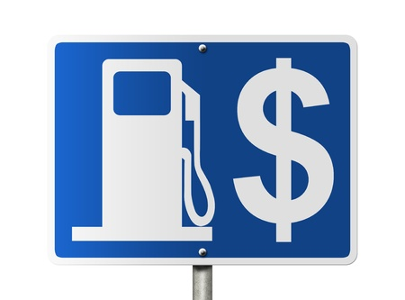 An American road sign with gas symbol and dollar sign isolated on white, The price of gas photo