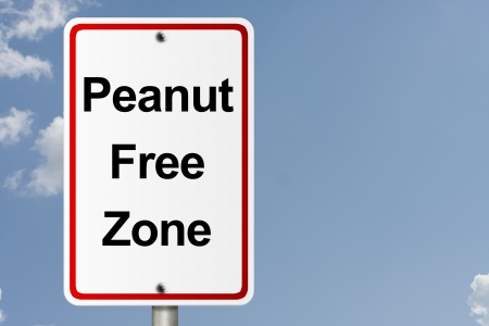 allergic reaction: An American road sign with sky background, Peanut Free Zone
