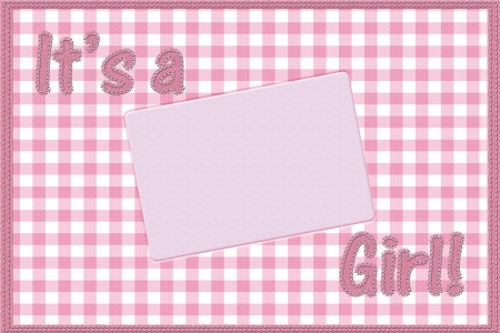 gingham: Words it is a girl sewn on pink gingham material with copy-space in rectangle, It is a girl baby announcement Stock Photo